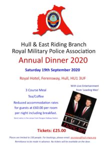 Annual Dinner - Hull & East Riding Branch RMPA @ Royal Hotel